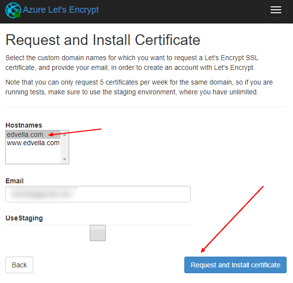 The certificate request step