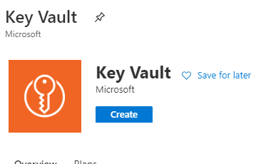 create key vault button