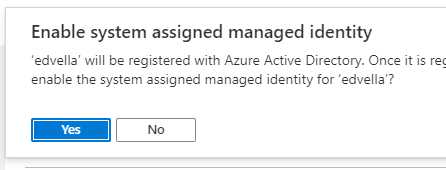 Managed identity confirmation prompt