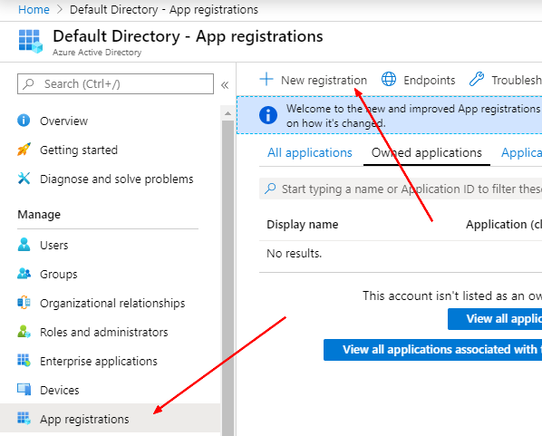 New app registration menu