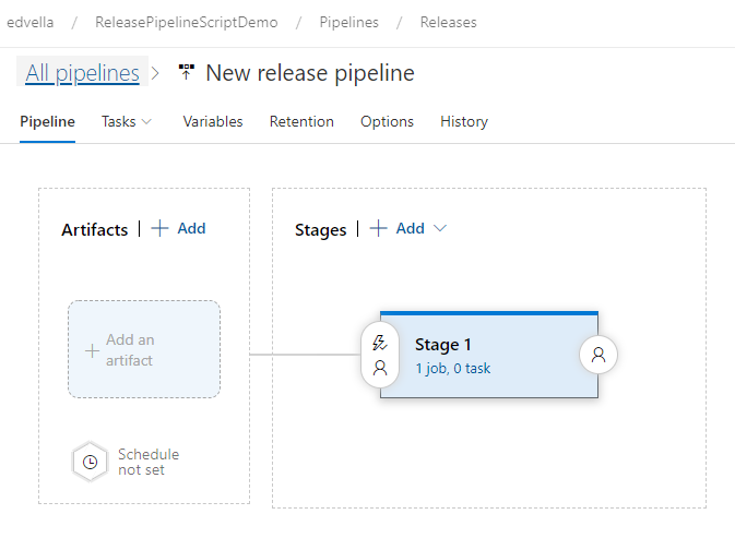 New, empty release pipeline