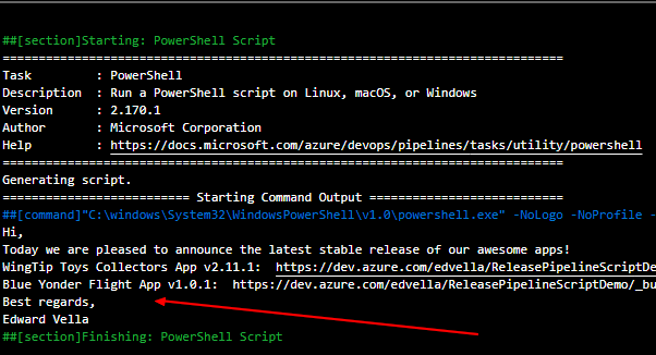 The output form the PowerShell script shows the required information