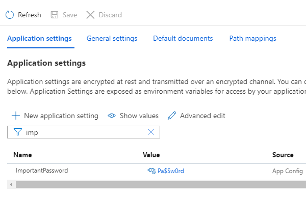 Application settings insecure value