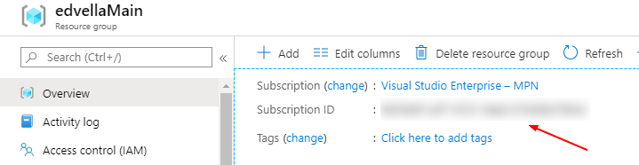 Finding the subscription id